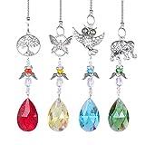 H&D Lila Kronleuchter-Ornamente zum Aufhängen, Kristallsteine, Prismenform, Regenbogen-Effekt,Sonnenfänger mit Perlen zur Dekoration, mit Flügel des Engels