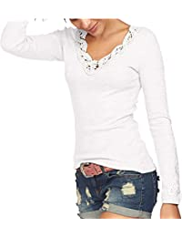 TrendiMax Damen V-Ausschnitt Langarmshirt Pullover Rundhals Blumen Spitzen Shirt Langarm Casual Oberteile Tops