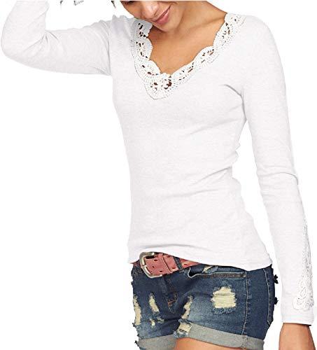 TrendiMax Damen V-Ausschnitt Langarmshirt Baumwolle Shirt Langarm Casual Oberteile,S,Weiß