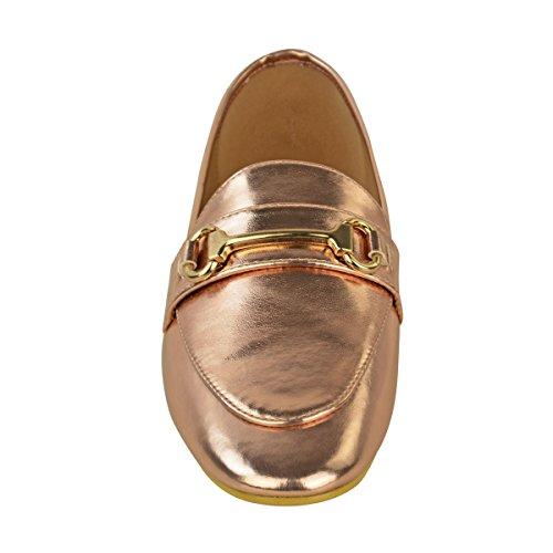 Damen Flache Slipper Smart Brogue Klassisch Formell Arbeit Schule Schuh Größe Rotgold Metallisch / Gold Bar Detail
