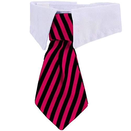 Punkt-kragen-gestreifte Krawatte (VICTHY Verstellbare Fliege für Hunde und Katzen, Small)