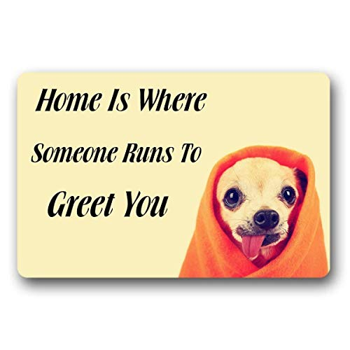 Home is Where Someone Runs to Greet You Door Mat Indoor/Outdoor Rubber Non Slip Doormat for Patio Front Door 16x24 Floor Rugs Personalized Door mats (Band Husky Halloween)