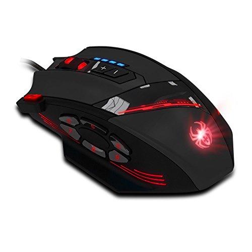 Dland 12 programmierbare Tasten LED Optical Professionelle High Precision USB verdrahtete Spiel-Mäusemäuse, 4000 dpi (Bis 8000DPI vom Software), Gewicht Tuning Set