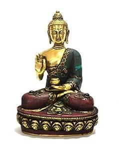 """Grande Statue de Bouddha Méditation-Bouddhisme Gifts Home Decor 8 """"- Statuette de Antique Turquoise pierre Corail travail"""