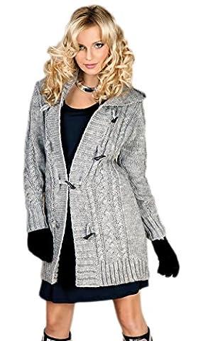 Damen Strick Jacke Mantel Pullover Neu mit Kapuze Beige Grau Warm (951) (M, Grau)