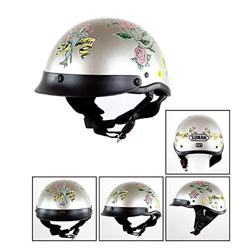 CPSTM Jethelm Motorrad Micro Roller Helm MTB Bike Motorrad Kleinkind Helm Kinder Motorrad Halbhelm Auto Puffer Kinnriemen Schädel Kappe Maßband Größe für Männer und Frauen (8,S) (Schädel Kappen, Helme)