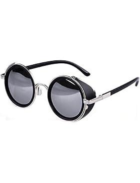 Gafas de sol ultra Steampunk 50s redondo gafas con protección UV400 en oro plata marrón azul espejo estampado...