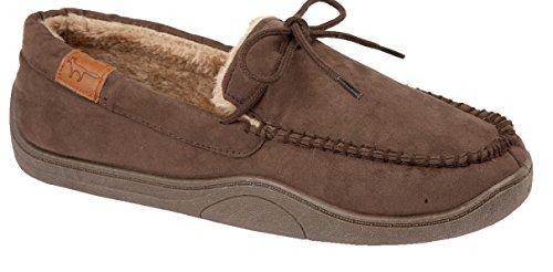 Mocassini da uomo modello New Hampshire in simil pelle scamosciata, foderati di pelliccia, scarpe disponibili nei numeri dal 40,5 al 47 Renard Brown