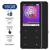 MP3 MP4 Player mit Bluetooth 4.0, 16GB MP3 Speler mit Lautsprecher, 2.4 Zoll TFT Farbbildschirm HiFi Metall Musik Player MP4 Player, unterstützt bis 128 GB SD Karte, FM-Radio