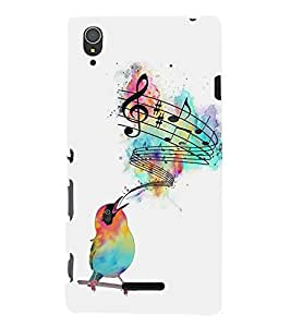 FUSON Creative Sparrow With Music 3D Hard Polycarbonate Designer Back Case Cover for Sony Xperia T3