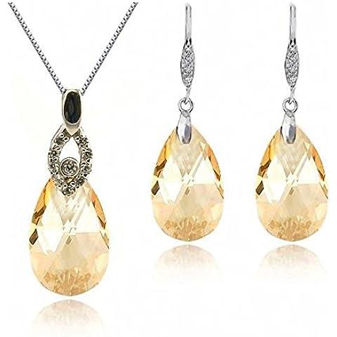 GoSparking Champagne Oro di cristallo Teardrop Orecchini Sterling Silver & Pendant impostato con cristallo austriaco per le donne