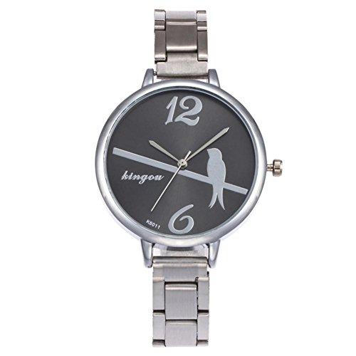 1e95fc032ba0 Relojes de Pulsera Diamantes de Pulsera de Cuarzo de Moda Negra para Mujer  por ESAILQ