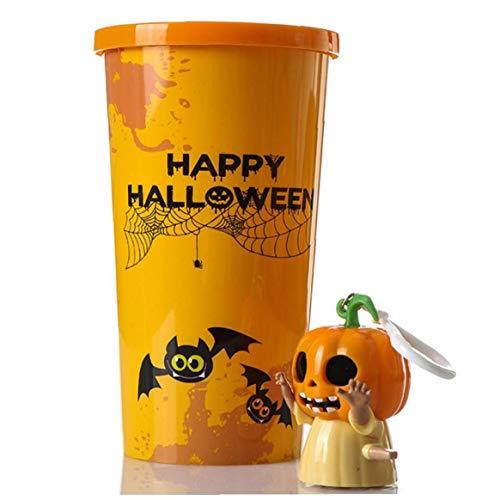 Halloween Tassen Halloween-Party-Zubehör Für Kinder Kürbis Plastikbecher Mit Uhrwerk Spielzeug Keychain 1PC