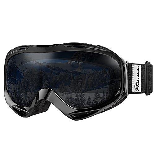 OutdoorMaster Premium Skibrille, Snowboardbrille Schneebrille OTG 100% UV-Schutz, Helmkompatible Ski Goggles für Damen&Herren/Jungen&Mädchen(Schwarzer Rahmen + VLT 8% Schwarze Linse)