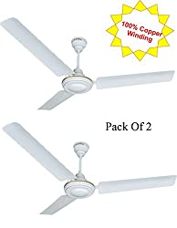 Candes Rapid 1200mm Ceiling Fan 48 inch White Pack of 2 (100% Copper Winding with 2 Year Warranty 5 Star Rating)