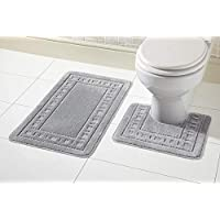 Aviator London Toilet 2 Piece Bath Mat & Pedestal Set, Non Slip Bathroom Set Non Slip Bathroom Set Non Slip Back 100% Polypropylene Reverse: 100% Latex (Silver)