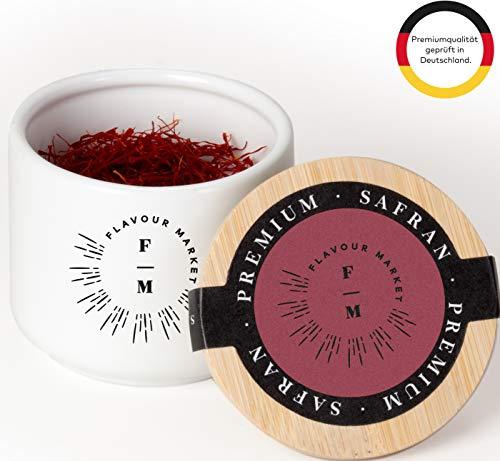 Flavour Market Safran Fäden (5g) in hochwertiger Keramikdose - 5 Gramm Safranfäden Qualitätskategorie I (ISO 3632 - 2)