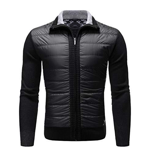 Realde Herren Mantel,Einfarbig Langarm Lightweigh Stehkragen Reißverschluss Outwear Jacket Coat Sweatshirt Herbst und Winter Arbeitskleidung Tunika Sweatjacke Strickpullover