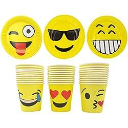 JZK 30 Placas papel Emoji platos y 30 tazas de papel Emoji para la fiesta de emojis adulto niños suministro de fiesta cumpleaños accesorio de vajilla para fiestas de niños