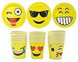 JZK Set 30 Piatti Emoji Carta + 30 Bicchieri Emoticon Carta per Festa Compleanno Bambini Adulto Set stoviglie monouso Giallo per 30 Persone Kit Festa Emoji Smile