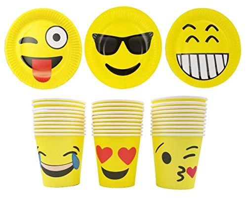 JZK 30 Emoji Party Papier Teller + 30 Papier Becher, Einweg-Party-Set Geschenk Kindergeburtstag Party Set für Hochzeit Kinderparty Babyparty, ()