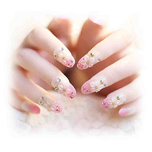 Shiny French diamond with transparent fake nail patch, nail piece, bridal nail manicure (Color : 03)