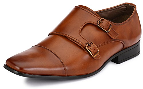Afrojack Men's Gabriel Monk Strap Synthetic Leather Formal Shoes (7)