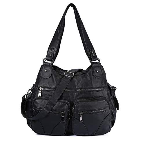 Große Damen Handtasche PU Leder Schultertasche Umhängetasche Henkeltasche Fraue Crossbody Reisetasche für Reisen Schule Shopping Mädchen - Schwarz