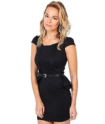 KRISP Damen Mini Kleid mit Schößchen in Kontrastfarben_(3567-BLK-12)