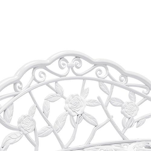 [casa.pro] Gartenbank Weiß Gusseisen – Wetterfester 2-Sitzer rund aus Metall im Antik-Design – Parkbank / Sitzbank / Eisenbank im Landhausstil - 6