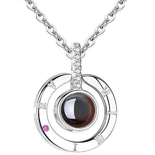 Kette für Frauen - Damen halskette - Projektor - Objektiv - Valentinstag - Rundes silber - Silberne farbe