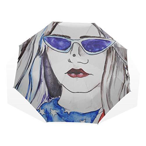 Reiseregenschirm Schöne Frau mit Sonnenbrille Anti Uv Compact 3-Fach Kunst Leichte Klappschirme (Außendruck) Winddicht Regen Sonnenschutzschirme Für Frauen Mädchen Kinder