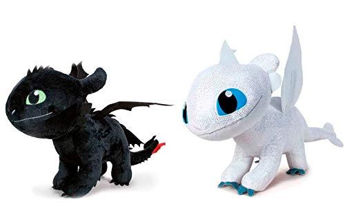 Drachen Glitzern Weiss/Schwarz Fury PLUSCH Weiblich Peluche 40cm Drachenzähmen leicht gemacht 3 Die geheime Welt Dragon Trainer, Random Colours