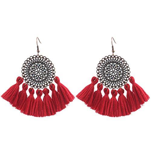 Plzlm Frauen-böhmische Troddel-Ohrringe Legierung Fächerförmig Fringe Pendent baumeln Ohr-Bolzen-Ohrring-Ohr-Tropfen (Ohr Fringe)