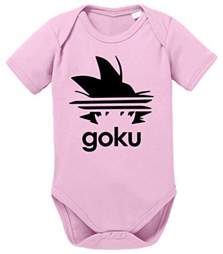 Adi Goku Dragon Son Baby Ball Strampler Bio Baumwolle Body Jungen & Mädchen 0-12 Monate, Größe:56/0-2 Monate, Farbe:Rosa