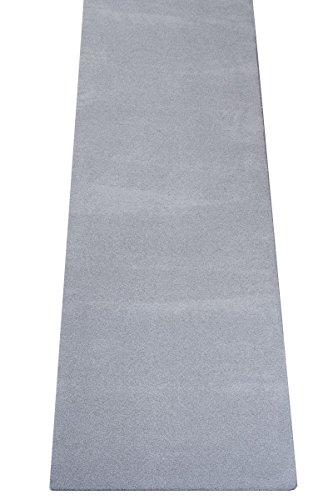 havatex Luxus Velours Teppich Läufer Buffalo - große Farbauswahl viele Größen | Prüfsiegel: Blauer Engel | 100% Polypropylen | weicher Flor, Farbe:Grau, Größe:80 x 300 cm -