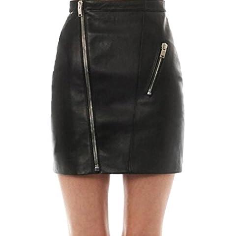 Sannysis Damen Faux Leder High Taille Schlittschuhläufer Flared Gefaltet Kurzen Minirock (XL,