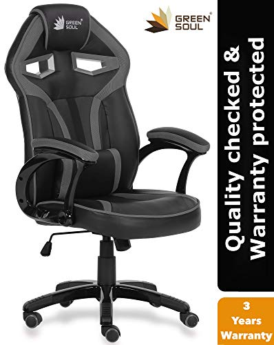 Green Soul Alien Series PU Leather and Mesh Gaming/Desk Chair (Black and Grey, Medium)