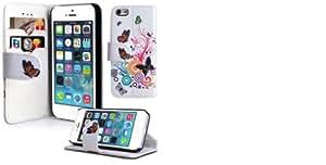 steve-tronik Praktische und schicke Frühlings - Sommer Flip Case Brieftasche Schutzhülle für Apple iPhone 5 5s 5g in Weiß-Schwarz Schmetterling mit Standfunktion