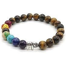 7 Chakra - meditazione Bracciale da Bracciale di pietra occhio di tigre pietra naturale gemma perla tonda Yoga Reiki Bracciale- Lucky Elephant