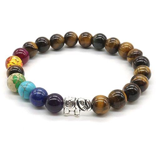 Mayting 7 Chakra Stein Armband Tigerauge Stein Natürliche Edelstein Zen-Buddhismus Armreif Runde Perlen Armband - Lucky Elephant