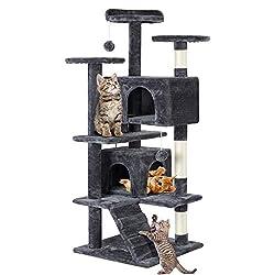 Yaheetech Cat Scratching Post Tower Tree Pet Palace Cat Palace,Grey