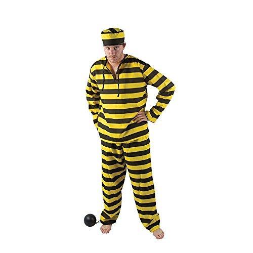 Erwachsene Kostüm Sträfling Für - P 'tit Clown 86510Kostüm Erwachsene Luxe Gefangene-Einheitsgröße-Schwarz/Gelb