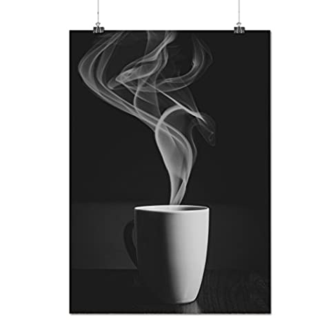 Steaming Hot Coffee Cup Of Tea Matte/Glossy Poster A3 (42cm x 30cm) | Wellcoda