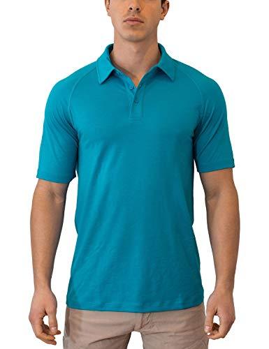 WoolX Summit - Men's Merino Wool Polo Shirt - Short Sleeve - Lightweight - Breathable - Aqua - LRG -