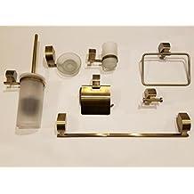 crisandecor Juego 7 piezas accesorios de baño en latón dorado envejecido  pavonado 09c549f58218