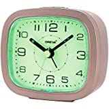 OREVA Alarm Table Clock with LED and 4 Step Buzzer Sound (Brown Body Green LED, 9.4 cm x 3.9 cm x 8.5 cm, AA3507)