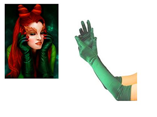Halloween Long Green Gloves Satin Poison Ivy Ladies Fancy Dress Costume (Poison Ivy Kostüm Perücke)