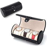 Zollyss 3 Slot Leather Travel Watch Case Roll Organizer Classic Black