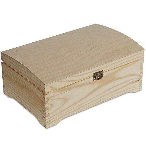 Creative Deco Grande Coffre Boîte de Rangement Bois | 30 x 20 x 14 cm | Non Peinte Caisse Malle pour Décorer | avec Couvercle Courbé | Parfait pour Jouets, Outils, Documents et Objets